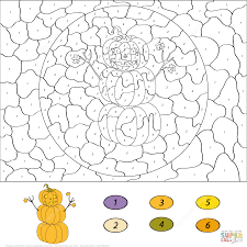 Small Picture Pumpkin Snowman Color by Number Free Printable Coloring Pages