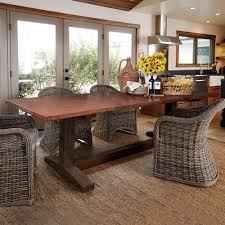 farmhouse hammered copper top dining table