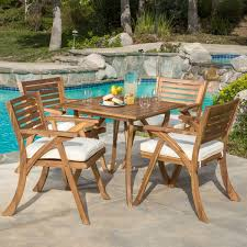 outdoor hermosa 5 piece acacia wood dining set with cushions by christopher knight home