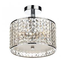 bathroom chandelier in chrome with crystal glass bead shade