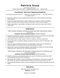 Entry Level Customer Service Representative Resume Menu And Resume