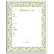 family menu template hosting a tea download an afternoon tea menu template for menu