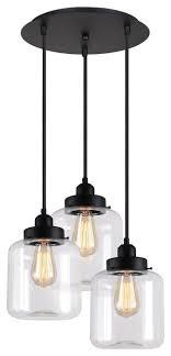 murphy 3 light glass jar pendant