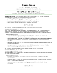 Industrial Resume Templates Research Technician Resume Sample Monster 96