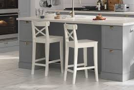 Image Plastic Ikea Ingolf Bar Stools In White Colour Placed In Bodbyn Grey Kitchen Ikea Bar Stools Counter Height Chairs Ikea
