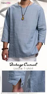 <b>Mens</b> Vintage Solid V-neck Half Sleeve <b>Loose</b> Casual <b>T</b>-<b>Shirt</b>   Linen ...