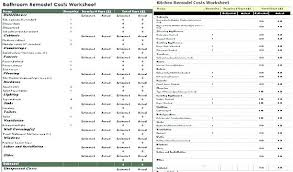Home Renovation Spreadsheet For Costs Bathroom Remodel Estimate Template Weibing Info