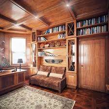 Image Industrial Small Sofa Is Placed Next To The Desk In The Builtin Shelves Digsdigs Elegant Traditional Home Office Clad With Wood Digsdigs