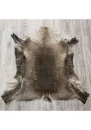 real reindeer deer hide area rug carpet size 120x125 cms