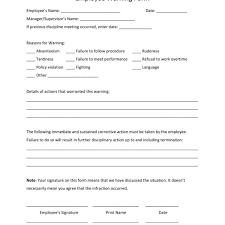free employee warning forms free employee warning notice template pdf word eforms free