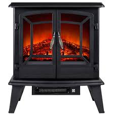 akdy 400 sq ft electric stove in black with vintage glass door realistic flame and