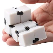 infinity cube. anti-stress toy plastic edc fidget infinity cube - white