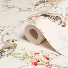 Statement Ornithology Birds Metallic Effect Wallpaper | Departments | DIY  at B&Q
