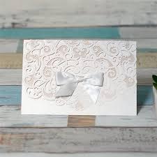 Elegant Invitation Cards Wedding Elegant Pocket Fold Laser Cut Wedding Invitation Card With Bow