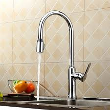 Contemporary Solid Brass Pull Down Kitchen Faucet Chrome Finish