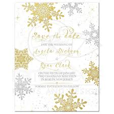 Winter Wedding Save The Date Gold Silver Snowflake Winter Wedding Save The Date