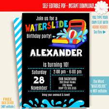 Waterslide Invitation Printable Waterslide Birthday Party