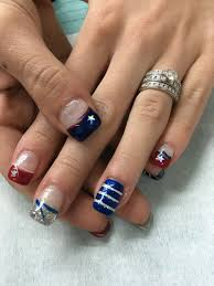 Gel Nail Designs For 4th Of July 4th Of July Gel Nails Red White Silver Glitter And Blue