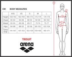 Womens Swimsuit Size Chart Sizing Charts Arena Swimwear
