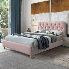 charlie bed frame in blush pink
