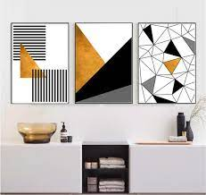 set of 3 gold black and white printable