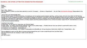Administration Manager Job Offer Letter | Offer Letters Templates ...