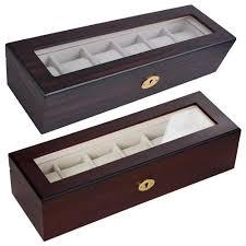 6 cherry ebony wood watch display case w scratch proof glass top jewelry storage
