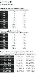 Curtain Size Conversion Chart Curtain Length Chart Remotewriter Co