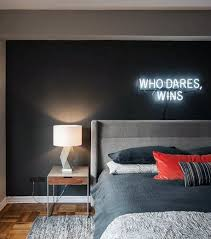 men bedroom ideas with neon sign wall decor