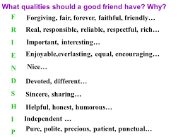 nsec book unit friendship the first period speaking ppt  what qualities should a good friend have why