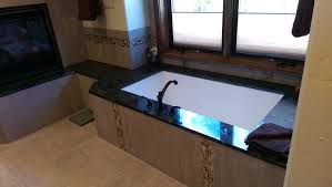 denver labradorite granite bathroom transitional with chiseled edge on freestanding vanities tops glass panel s