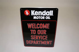 n o s kendall motor oil wele to our service department embossed tin garage sign