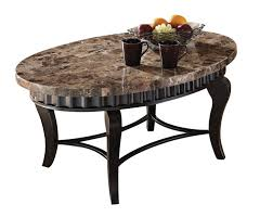 furniture oval brown granite top coffee table with curved black