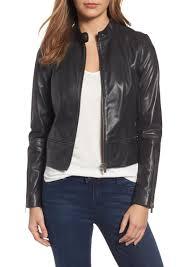 halogen zip detail leather moto jacket regular petite