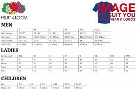 Fruit Of The Loom Sweatshirt Size Chart Fruit Of The Loom Womens T Shirt Size Chart Buurtsite Net