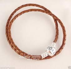 new authentic pandora camel brown leather silver bead double bracelet 13 8 35cm