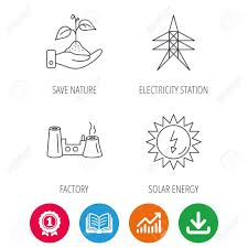 Save Electricity Chart Electricity Station Factory And Solar Energy Icons Save Nature