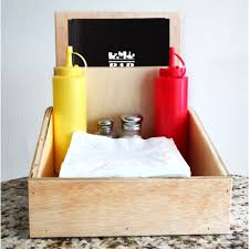 natural wood table organizer condiment holder
