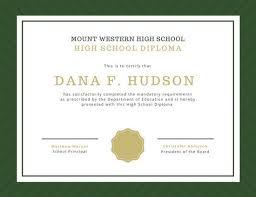 High School Deploma Customize 325 High School Diploma Certificate Templates Online Canva