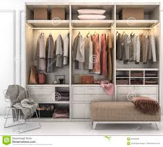walk closet. Walk Closet. 3d Rendering Minimal Scandinavian Wood In Closet With Wardrobe