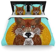 art love passion colored fox blue orange cotton duvet cover queen 88