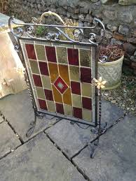 arts crafts leaded glass fire screen antique fire screens arts crafts fire screen fire place screen alt5