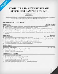 Resume Sample For Computer Technician Computer Hardware Technician