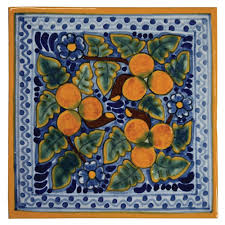 6X6 Decorative Ceramic Tile Peaches Design Talavera Mexican Ceramic Tiles Native Trails 2