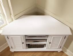 retro white oak wood corner media stand with shutter doors of