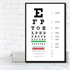 Eye Exam Snellen Chart Us 2 99 30 Off P084 Modern Eye Test Snellen Chart Poster Home Decoration Art Painting Silk Canvas Poster Wall Home Decor In Painting Calligraphy