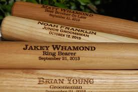 3 personalized groomsmen gifts custom engraved wood baseball bat with ring bearers name date and special message