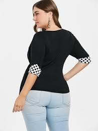 Plus Size Polka Dot Empire Waist T Shirt Tops In 2019