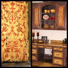 rustic italian furniture. ornate italian panel stencil on distressed and rustic furniture cabinetry