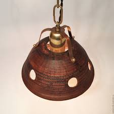 livemaster handmade ceramic lamp with brass suspension chain copper lamps handmade